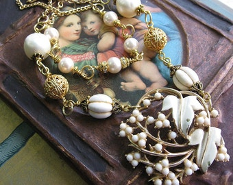 Assemblage Necklace, Vintage White Leaves, Upcycled Jewelry, Chipped Vintage Enamel Brooch, White and Gold Two Strand Boho Necklace