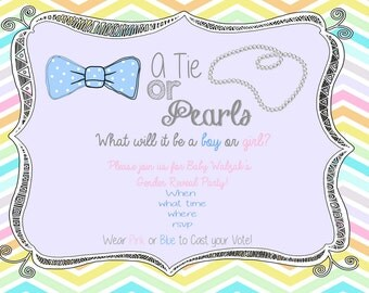 Gender Reveal Bow Tie or Pearls Invitation