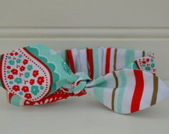 Paisley headknot - headband for girls, aqua and red, gift ideas for girls