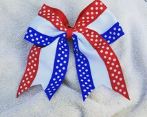 12 Custom 4th of July Red, white,  and blue  cheer bows cheerleaders dance team studio competition competitive soccer softball tall flags