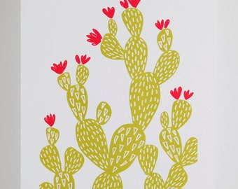 Graphic cactus contemporary giclee print A4