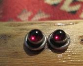 Garnet and Sterling Silver Stud Earrings