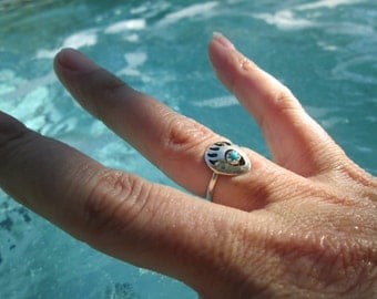 Turquoise and Sterling Bear Paw Ring Size 5.5