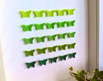 Green shades 3D butterflies