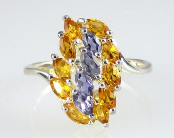Citrine & Iolite Marquise Cluster Ring 925 SS Sterling Silver