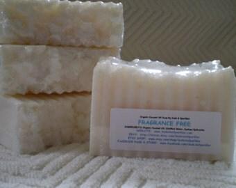Fragrance Free Organic 100% Coconut Oil Soap Bar - 5-6oz. Each