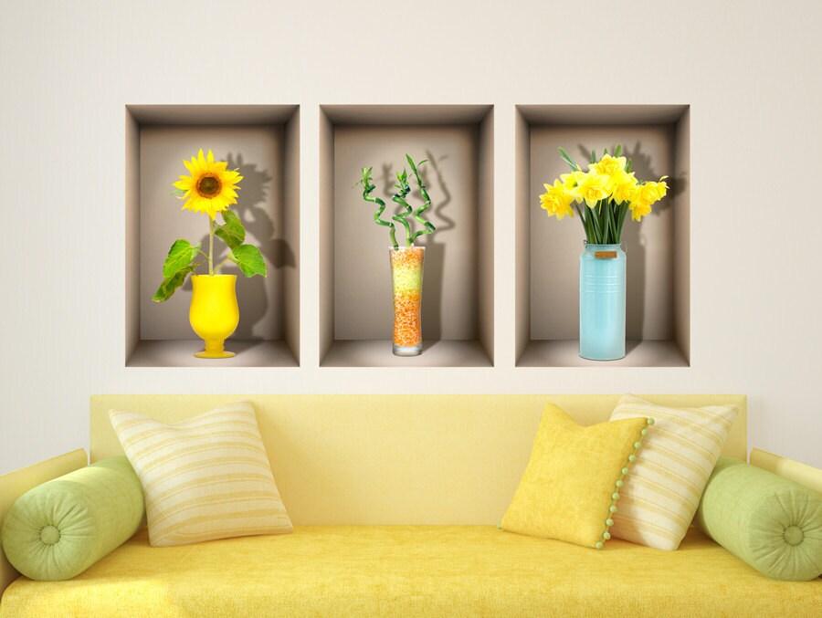 3D Nische Wand Aufkleber HAPPY Farben Fr Wohnzimmer