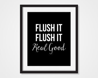 Bathroom Decor 'Flush It' Humorous Funny Art Print 5x7, 8x10, 11x14 Bathroom Art Print, Black & White Art, Wall Decor, Home Decor