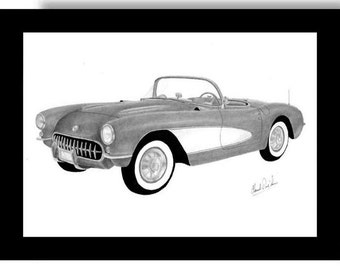 Car art pencil drawing of 1956 1957 Corvette