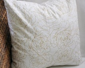 Gold Floral Outline Pillow Cover - 16X16, 18X18, 20X20