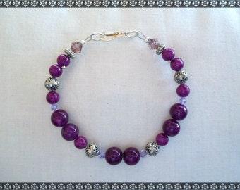 purple bracelet, fossil stone, violet bracelet, violet