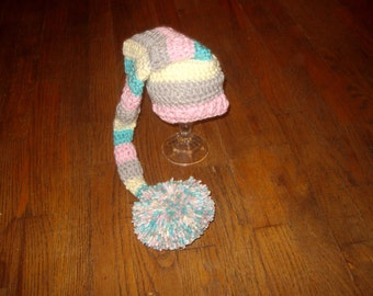 Baby Girl Hat long tail elf hat with pompom Crochet elf hat Baby Hat