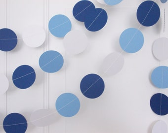 Party Paper Garland, Light Blue Navy & White Garland, Boy Birthday Party, Baby Shower, Party Decoration, 12'