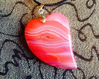 222-Salmon Red Heart Agate Pendant Necklace-Red Heart Onyx Agate Pendant Necklace-Red Agate Pendant Necklace-Red Salmon Onyx Agate Necklace