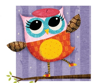 A4 'The Owl Diaries' Print  -  signed children's Illustration print of Eva The Owl by author/illustrator Rebecca Elliott