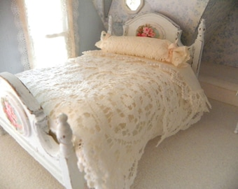dollhouse double bed French style shabby chic SCALE 1/12