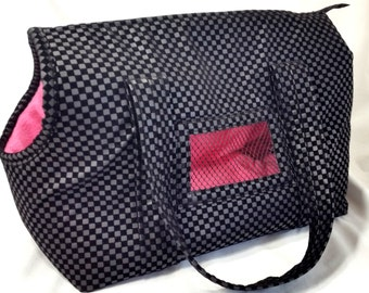 Black Pleather Cuddle Dog Carrier, Dog Purse, Dog Tote, Small Dog Purse, Handmade Dog Carrier