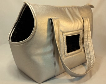 Champagne Leather Dog Carrier, Dog Tote, Small Dog Purse, Handmade Dog Carrier