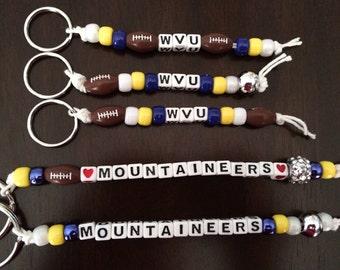 West Virginia University Beaded Keychain, WVU, Mountaineers