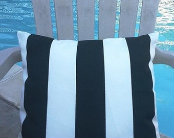 "Modern Premier Prints Indoor Outdoor Vertical Stripe Black 3"" on White Background Decorative Throw Pillow Cover with Hidden Zipper"