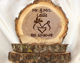 Wedding cake topper, personalized wedding cake top, tree slice cake topper, buck and doe cake top, base approx 4in x approx 5in tall