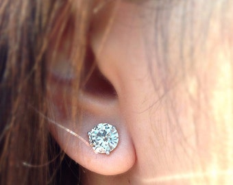 9.5mm Round Charles and Colvard Forever ONE Colorless Moissanite Martini Earrings 7 Carat Total Weight