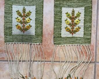 Vintage Flowering Plant Polish Kilim Wall Hanging Tapestry Set