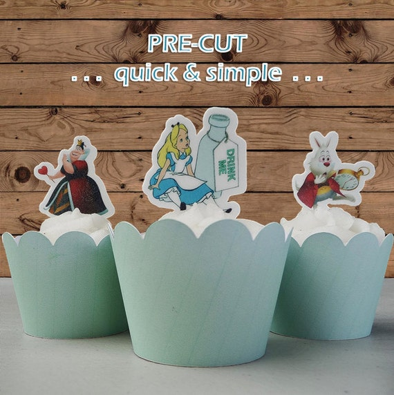 Edible Cake Decorations Alice In Wonderland : Alice In Wonderland edible wafer Cupcake Cake by ...