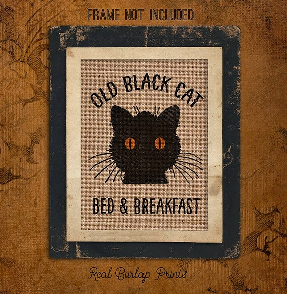 Halloween | Old Black Cat | Bed and Breakfast | Kitty |  Burlap Print | Personalized | #0125