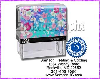 Custom Personalized 5 Line Address Self Inking Rubber Stamp Sakura Flowers Theme