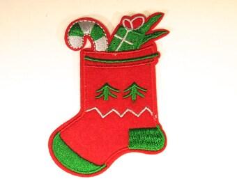"Iron-on ""christmas stocking"", applique, application (P72)"