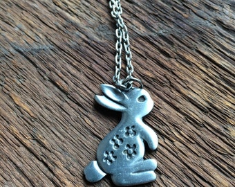 R. Tennesmed Pewter Modernist Large Rabbit Pendant with Necklace