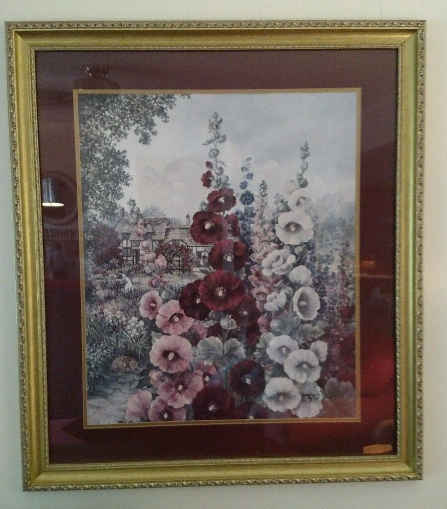 Glynda turley framed print hollyhocks iii by coutrashtreasures for Glynda turley painting