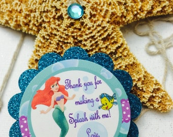 Little Mermaid Party Tags, Little Mermaid Favor Tags, Ariel favor tags, 12 Ready-to -Ship