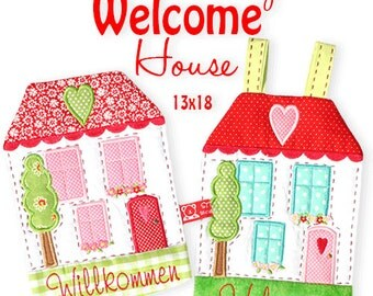 """Little Cottage Welcome House ITH 5x7"""" Machine embroidery Files"""