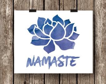 Namaste Art Print, Yoga Print, Typography Print, Yoga Studio Decor, Bedroom Wall Art, Inspiring Wall Art, Spiritual Art, Meditation Art