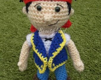 Jake and the Neverland Pirates - crochet Jake - Pirate Doll
