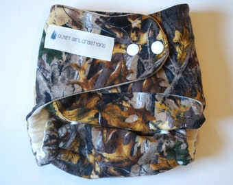 "One Size Fitted Cloth Diaper in ""Camo"""