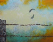 Oringinal Canvas Early Morning Breeze Whimsical Acrylic Painting Country Western Bird Barbed Wire Minimalist Contemporary Ready Wall Art
