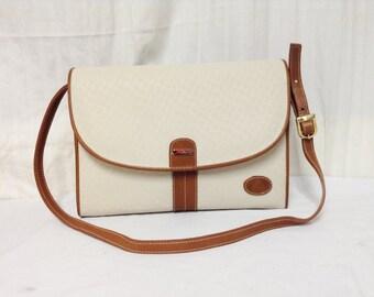 Free Ship Liz Claiborne 1988 Purse PVC Leather Trim Shoulder Bag Mint Condition