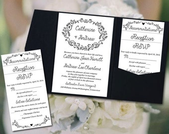 wedding pocketfold invitation template diy wedding