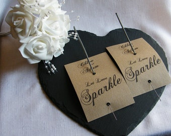 Vintage Wedding Sparker Holder Cards Personalised Brown Kraft