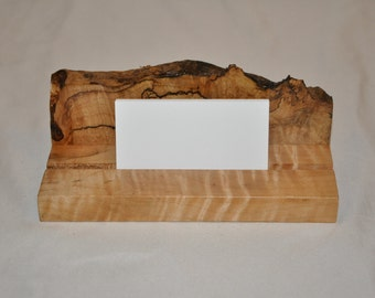 Handcrafted Spalted Figured Western Maple Business Card Holder