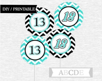 Instant Download Black and Turquoise Cupcake Toppers,13th Birthday toppers DIY Printable (PDLM006)