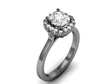 10K White Gold Cushion-Cut Engagement Ring 0.75ct. tw