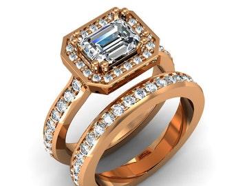18K Rose Gold Emerald Cut Diamond Ring Set