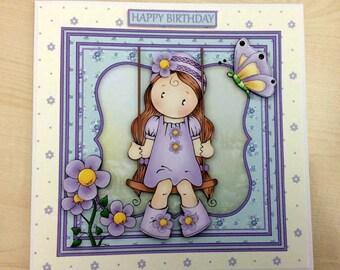 Girl on Swing Birthday Card