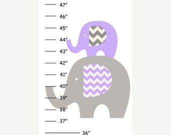 ON SALE SALE Personalized Purple Grey Elephant Canvas Growth Chart