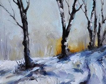Original Impressionist Oil Painting, Winter Landscape, Small Format Oil Painting 6x6 Inch