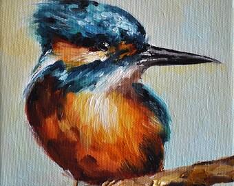 Original Oil Painting, Impressionist Kingfisher Bird Painting 6x6 Inch